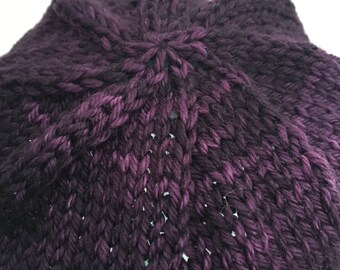 Purple Knit Hat, Textured Hat, Knit Beanie, Eggplant Hat, Merino Hat, Merino Wool Hat, Purple Merino Hat, Hand Knit Hat Free Shipping