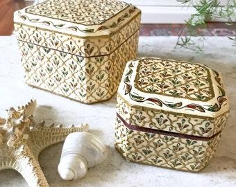 Vintage Mosaic Inlay Tile Decorative Boxes / Gold Jewelry Box / Trinket box / Bohemian
