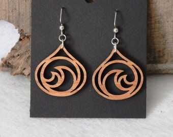 Teardrop Waves Wooden Earrings