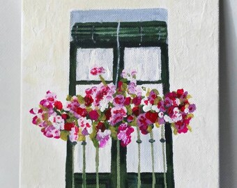 Acrylic paint on canvas. Sevillian balcony box.  Sevillian balcony painting. Acrylic on canvas.