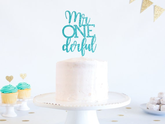 Mr Onederful Cake Topper - Glitter - 1st Birthday. Smash Cake Topper. First Birthday Boy. Cake Topper Boy. 1st Birthday Decor. Boy Party.