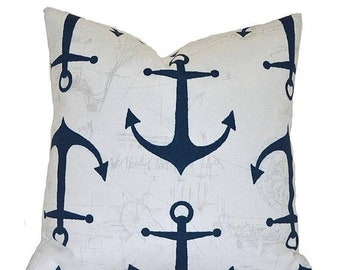 """CLEARANCE SALE 20""""x20"""" Outdoor Pillow Covers Decorative Pillows Pillow Cover Navy Pillow Premier Prints Outdoor Anchors Oxford"""