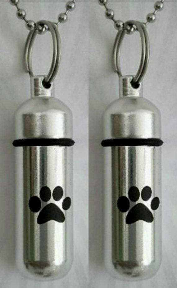 TWO Laser Engraved Large Simple Paw CREMATION URN Necklaces with Velvet Pouches, Ball-Chains and Fill Kit