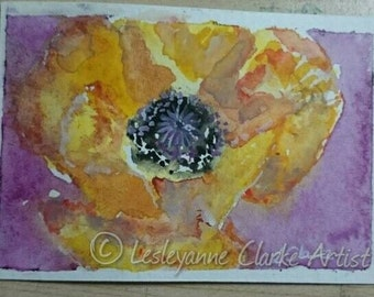 Pretty Poppy . ( aceo/atc size -2.5 x 3.5 inches)