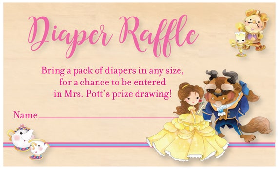 Beauty And The Beast Baby Shower Diaper Raffle Card Belle