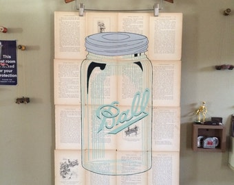 Hand painted one of a kind Ball Mason Jar on old book pages