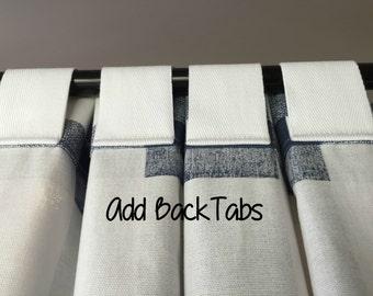 Add Back Tabs - Back Tab Curtains - Pleated Tab Curtains