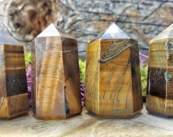 Tigers Eye Crystal Healing Tower / Grid Healing Stones  -  099