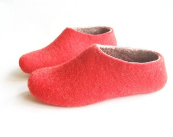 Red Coral Wool Slippers For Women, House Shoes House Slippers Warm Slippers, Felt Slippers Womens Personalised Shoes 7 Color Rubber Soles