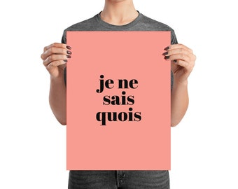 Je Ne Sais Quois, I Don't Know, Quote Wall Art Print, Minimalist, Typography, Statement Art, French Quote Wall Art, Coral Peach Print
