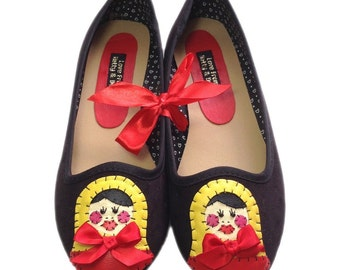 Customised Russian Doll Black Flat Shoes