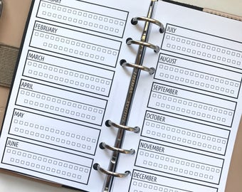 Yearly Task/Habit Tracker Checklist Planner Inserts for Personal Size Planners