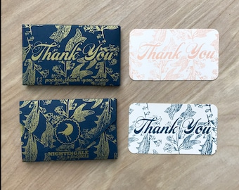 Floral Pocket Mini Thank You Cards Screen Printed By Hand