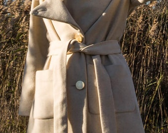 Speckled Ivory Wool Short Coat