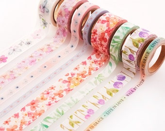 8Pc Blossoms of Blessings Washi Tape Set for Bible Journaling and Crafting