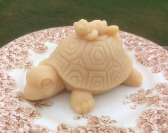 Turtle Frog Friends Handcrafted French Milled Goat Milk Gift Soap for Frog Lover, Turtle Lover Friend