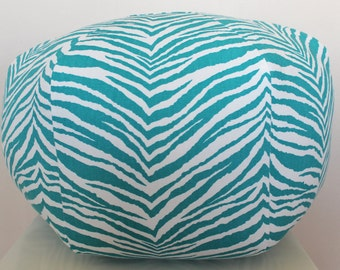 Teal zebra pouf / SMALL / ready to ship / floor pillow / ottoman / cushion / mini pouf / home decor / unique / stool / morrocan pouf