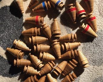 Antique Vintage WOODEN TEXTILE Thread SPOOLS