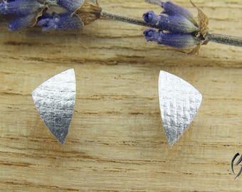 Earrings Silver 925 /-, triangular canvas matte