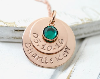 Personalized Rose Gold Birthstone Necklace, Gift for Mom, Mothers Gift, Name Necklace, Mom Birthstone Necklace, Mothers Necklace, Mommy Gift