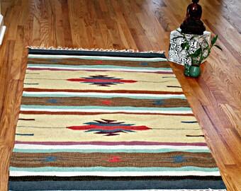 Vintage Rug 3x5 ft, Vibrant, Multicolored, Boho, Wool, Tribal Southwestern Motifs Hand Woven Kilm Rug Dari Rug Tapestry New Old Stock
