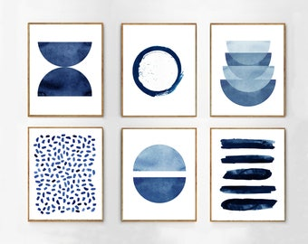 Abstract Watercolor Prints Set of 6 Blue Wall art Minimalist art Indigo Painting Navy Stripes Dots Brush Strokes Geometric art Home Decor