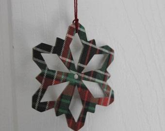"10 tartan plaid Snowflake die cuts.... paper/chipboard....use as ornaments, garlands+ 3"" wide"