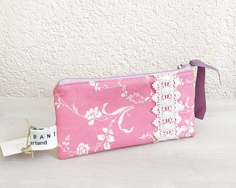 iPhone Case, iPhone Wallet, Cell Phone Fabric Case, Smartphone Pouch, Zippered Purse, Glasses Case in White Flowers on Pink Designer Fabric