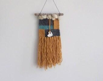 Woven wall hanging/mustard wool/roving/driftwood hanging/clay/clay heart /nursery decor/ bohemian hanging/ grey dk/ fibre art/wall weave