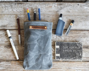 Waxed Canvas Scribbler Pouch in Slate, Accessories Cases, Wax Canvas Bag, Pencil Case, Cosmetic Case, Makeup Bag, Zipper Pouch, Travel Case