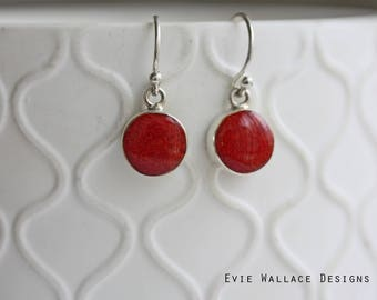 Red Sponge Coral Earrings / Round Red / Sterling Silver / Coral Earrings / Shepard Hook / Minimalist Jewellery / Natural Shell / Red Shell