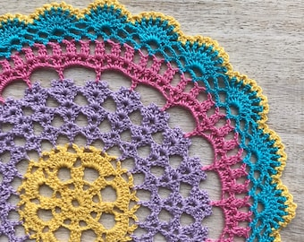 Multicolored round doily crocheted from eco-cotton, Doily mandala, gift for mom
