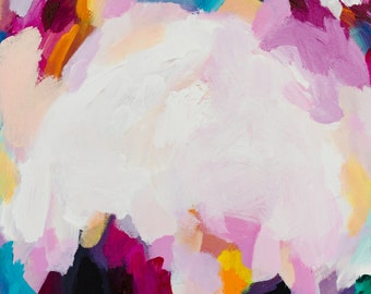 Original abstract painting, acrylic painting on canvas, pink, white, coloured, A3 wall art, by artist SOPHIE ASSELIN