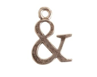 Antique Silver Ampersand Initial Charm