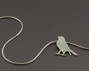 little robin pendant (brushed, sterling silver bird pendant)