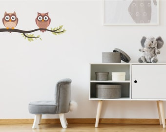 Owls On Tree Branch Animal Wall Stickers