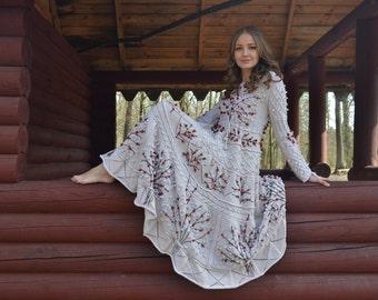 Handmade Dress Knitting pattern Fairytale gift for wife Linnen dress Ukrainian dress wife gift Ethnic dress Women's Clothing Knitting dress