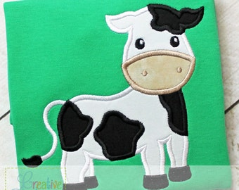 Cow Digital Machine Embroidery Applique Design 4 sizes, cow applique, cow embroidery, farm applique, bull applique, bull embroidery
