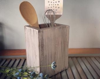 Wood Kitchen Utensil Holder, Farmhouse Decor, Kitchen, Housewarming Gift