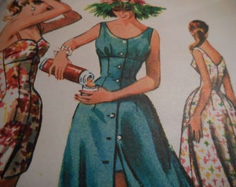 Vintage 1950's McCall's 4048 Bathing Suit and Dress Sewing Pattern Size 12 Bust 32