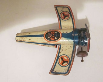 Vintage Lithographed Tin Whistle Penny Toy Airplane