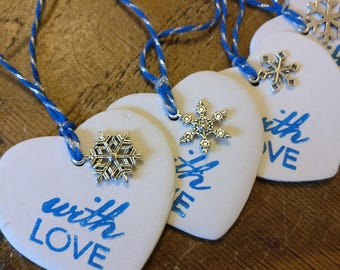 5 heart Christmas tags. Large clay heart luxury gift tags with snowflake.
