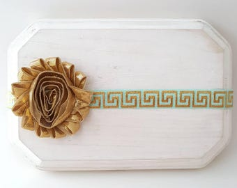 Metallic Gold Baby Headband - Gold and Mint Headband - Mint Baby Headband - Mint Headband - Baby Girl Headband - Gold Headband - Gold Bows