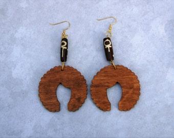 Wood Dangle Earrings- The Afro
