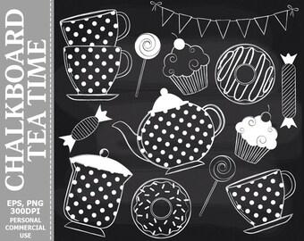 Chalkboard Tea Time Clip Art - Tea, Cups, Teapot, Donuts, Bunting, Cupcake Clip Art