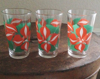 set of three vintage retro mid century drinking glasses tumblers bar ware PERFECT condition