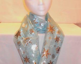 Silver snowflake on shear blue infinity scarf
