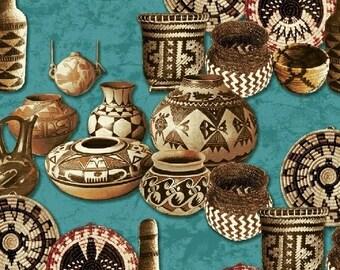 Adobe Baskets & Pottery, Turq 1 Yard