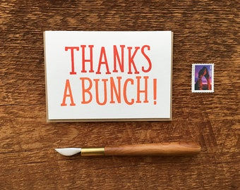 Thanks A Bunch, Letterpress Note Card, Thank You Card, Blank Inside