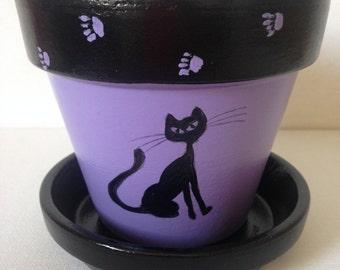 Cat Plant Pot, Cat Planter, Black Cat Planter, Hand Painted Plant Pot, Hand Painted Planter, Black Cat Gift, Black Cat Decor, Cat Lady Gifts